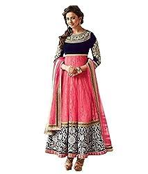 SalwarSaloon Women's Georgette Long Anarkali Unstitched Salwar Suit Dress Material(Hny_pink_SS_Pink)