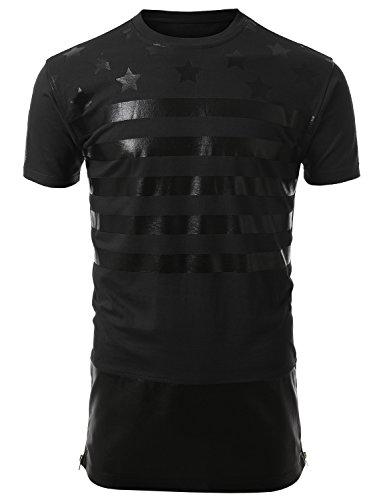 J.Tomson Mens Hip-Hop Printed Short Sleeve Extended Length T-Shirt Black 2Xl