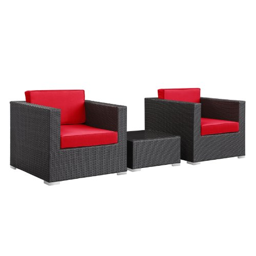 LexMod Burrow 3-Piece Espresso Patio Sectional Set with Red Cushions