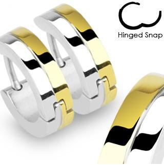 Pair of Two-Tone Small Huggie Hoop Earrings (Diameter: 14mm. Width: appx 4mm) Stainless Steel (will not tarnish/fade) Supplied in Gift Pouch