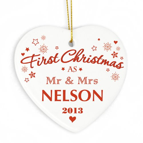 Personalised Our First Christmas Bauble, Tree Decorations, Wedding festive gift