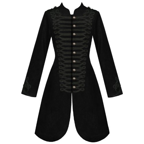 WOMENS LADIES NEW BLACK GOTHIC STEAMPUNK MILITARY VISCOSE COAT JACKET