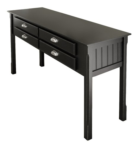 Winsome Wood Hall Table with 4 Drawers, Black