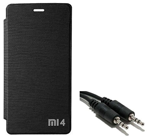 Chevron Flip Cover With Aux Cable for Xiaomi Mi4 16GB (Black)