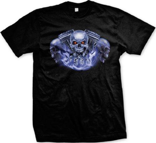Three Skulls Motorcycle Engine T-shirt, Biker T-shirts, Chopper T-shirts, X-Large, Black