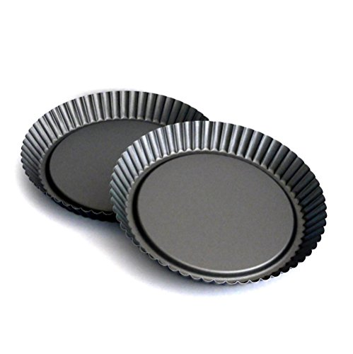 Tart Pan by Vanika, Pack of 2, Non-Stick Coating, Heavy Duty Steel Quiche Pans, PFOA-Free - Excellent Heat Conduction for Uniform Baking of Pizzas, Tarts & Pie - Release Baked Food Easily, 9.25