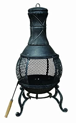 89cm Bentley Open Bowl Mesh Cast Iron Chimenea Patio Heater Black Bronze by Bentley
