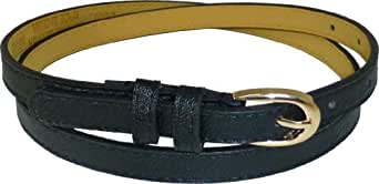 JTC Belt Leather Adjustable Womens Skinny Belt Gold Oval Buckle Black X-Large