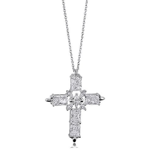 Sterling Silver 925 Cubic Zirconia CZ Accent Cross Pendant Necklace, Holiday Christmas Gift