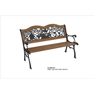 DC America SL2006-WT, Wine Tasting Park Bench, Cast Iron Frame and Hardwood Slats, Rust Resistant Bronze Finish