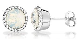 Tuscany Silver Opal October Birthstone Earrings