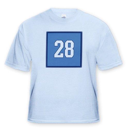 Number 28 in white trimmed in navy blue on a light blue background Outer trim is navy blue Light Blue Infant Lap Shoulder Tee 6M