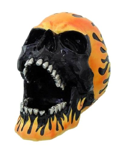 Flame Hot Rod Skull Ashtray Statue Halloween Decor