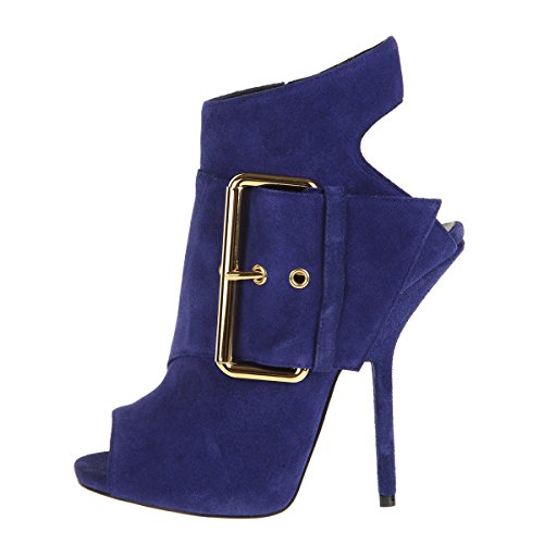 Onlymaker Women's High Heel Open Toe Zip Boots Blue Suede Size US 9