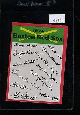 1974 TOPPS BOSTON RED SOX TEAM CHECKLIST VGEX SURFACE CREASES *45340