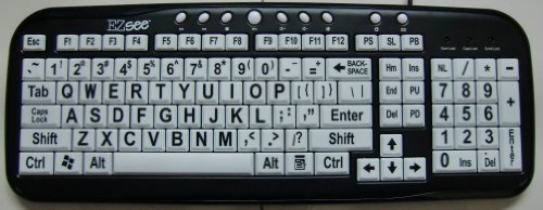 New And Improved: Ezsee By Dc Large Print Computer Usb Wired Keyboard For Better Visual Assistance - White Background Keys With Black Vivid Bold Jumbo Letters Creating Contrast For Better Vision Easy To See