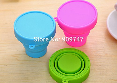 1pc Candy Colors Silicone Folding Portable Travel Outdoor Sports Retractable Cup Cups Folding Cup (Random Color)