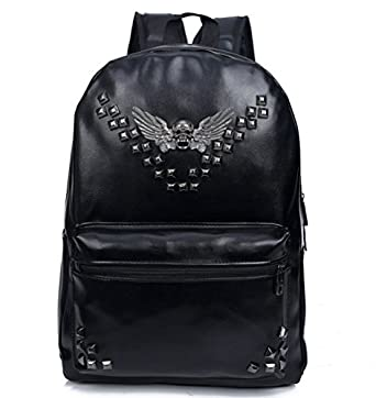 Bromeo Super Cool Skull Angel Wings Rivets Soft Pu Leather Backpack School Travel Casual Shoulder Bags Handbag