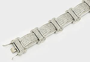 32.00 Ct, Round Cut, 14K Gold, Diamond, Mens Bracelet
