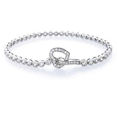 Bling Jewelry Round CZ Open Heart Link Tennis Bracelet 7.5 Inch 925 Sterling Silver