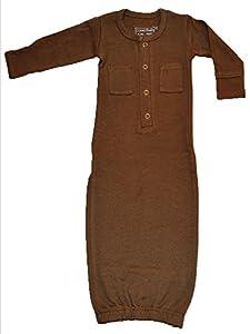 L'ovedbaby Unisex-Baby Newborn Organic Gown, Bark, 0-3 Months