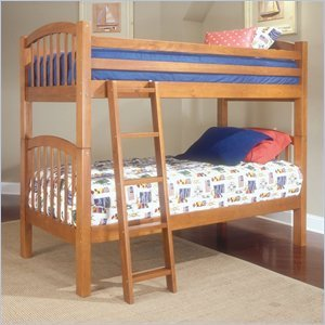 Image of Standard City Park Kids Twin over Twin Bunk Bed 3 Piece Bedroom Set in Cherry (4850-BB-PKG3)