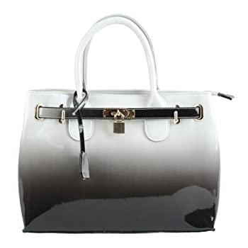 Scarleton Patent Faux Leather Satchel H116703 - Grey. Please note: actual color may vary from picture due to computer settings.