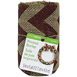 Floracraft FLORS200 Floracraft Ribbon Burlap Chevron - Red, 5 In. x 5 Yd.