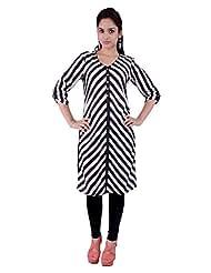 Pure Nautanki Black And White Stripes Cotton Silk Tunic Size _s