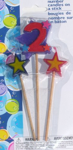 Number Birthday Cake Candles / Toppers / Decorations / Kit / 3 Piece Set / Number 2 - 1