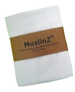 MuslinZ 3 Pack Fair Trade Organic Cotton Muslin Square Premium Quality White Muslin 70x70cms