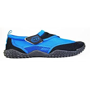 Nalu Velcro Aqua Surf / Beach / Wetsuit Shoes (UK 10 / EU 44, Blue with Black Trim)