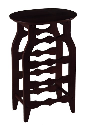 Winsome Wood Oval Wine Rack, Espresso front-580633