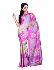 Alethia Multicolor Crepe Daily Wear Printed Sarees With Blouse Piece - B013NAXB1S