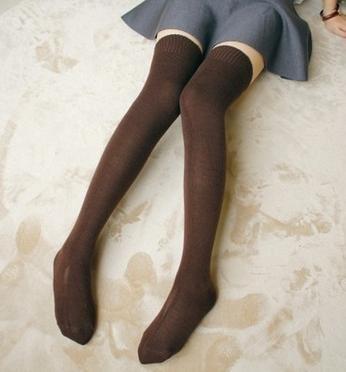 GAMBE CALZE Autunno Cachemire calze al ginocchio/donna lunga regali di Natale di gamba calze/calzini/Joker tinta unita in cotone , 3