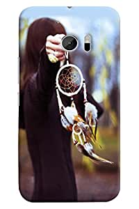 Omnam Girl Having Chinese Blessing In Hand Printed Designer Back Cover Case For HTC 10
