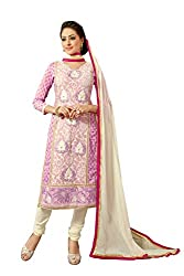 Blissta Pink Chanderi Embroidered Party Wear Dress Material