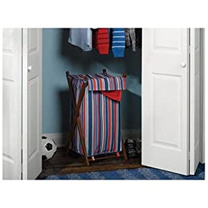 Homz Wooden XFrame Hamper Stripe