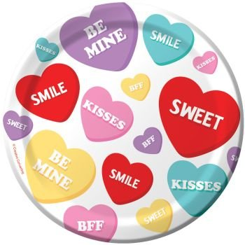 Candy Sweets Valentine's Day Paper Plates 7-inch 8 Per Pack