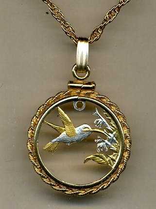 Stunning Trinidad & Tobago Hummingbird - GOLD & SILVER coin cut outs IN Gold Filled Bezels