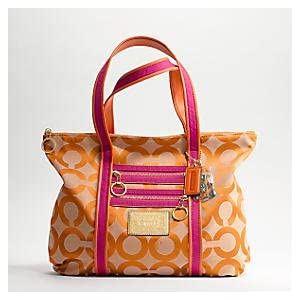 Coach Signature Poppy Glam Shopper Bag Purse Tote 13826 Persimmon Magenta