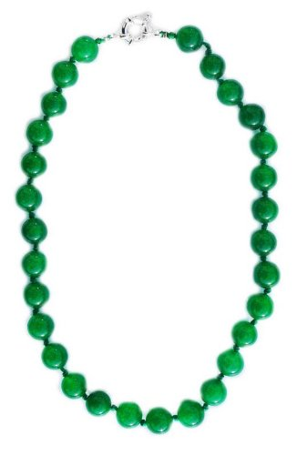 Necklace 45 cm made up of dark green Jade