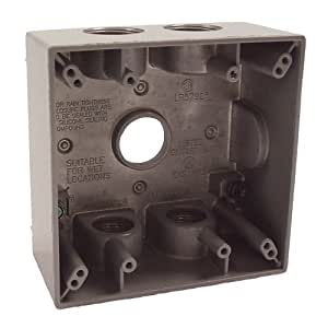 Hubbell Bell 5345-0 Two Gang 5-3/4-Inch Outlets Weatherproof Box, Gray