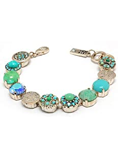 Israeli Amaro Jewelry Studio 'Fresh Sensation' Collection Superb Bracelet with Flower and Coin Links Crafted with Varisicite, Chrysocolla, Amazonite, Swarovski Crystals; .925 Sterling Silver Plated