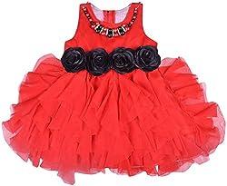 Kuchipoo Girls party wear Frock (KUC-FRK-130, Red, 2 - 3 Years)