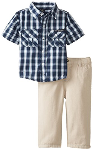 U.S. Polo Assn. Baby-Boys Infant Twill Pants And Plaid Short Sleeve Sport Shirt Set, Classic Navy, 12 Months