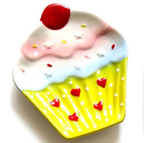 NEW Cupcake Design Plate Kitchen Utensil Spoon Rest Holder Stove Counter Top, Blue (Cupcake Spoon Rest compare prices)