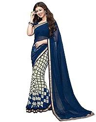 Hari Krishna sarees Bollywood Desighner Blue And White Printed Saree/f227