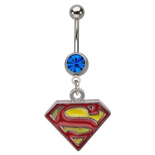 Superman Piercing 316L acciaio chirurgico con blu cz pietra 14g (1,6mm) (1pezzo) senza nichel