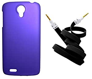XUWAP Back Hard Case Cover With Aux Cable For Lenovo S820 - Purple